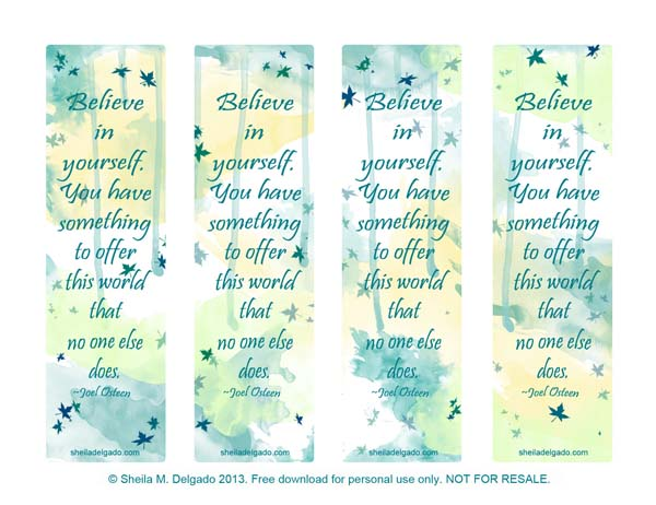 Believe in yourself bookmarks