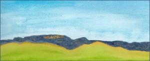 Hills 2. 4 x 12 watercolor on 140 lb. Arches cold pressed paper. © 2016 Sheila Delgado