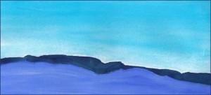 Hills in Blue. 5 x 11 watercolor on Arches 140 lb. cold pressed paper. © 2016 Sheila Delgado
