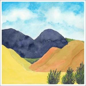 Hills. 8 x 8 watercolor and gouache on Arches 140 lb. cold pressed paper. © 2016 Sheila Delgado