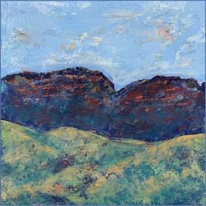 Mountains, revision. 6 x 6 acrylic on paper. © 2017 Sheila Delgado