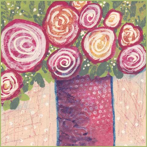 Winter Bouquet. 6 x 6 mixed media on paper. © 2018 Sheila Delgado