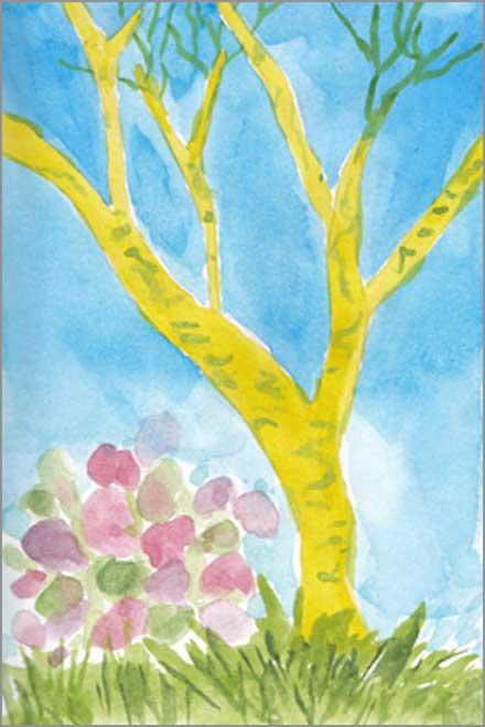 Green Tree Sketch. 4 x 6 watercolor on paper. © 2018 Sheila Delgado