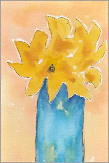 #26. 4 x 6 in. watercolor/pen on Arches 140 lb. cold pressed paper. © 2018 Sheila Delgado.