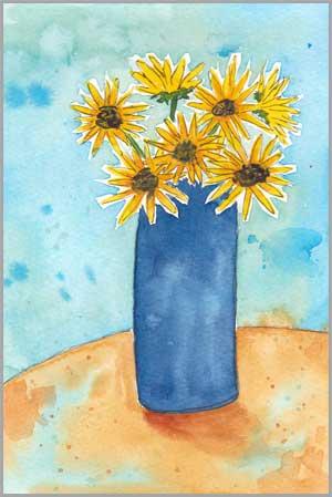 Bouquet In Blue. 6 x 9 in. watercolor & pen on Bee Paper. 140 lb. cold pressed paper. © 2018 Sheila Delgado.