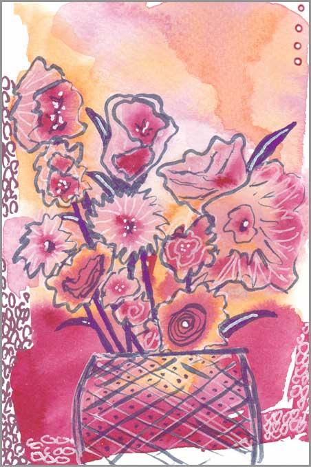 Floral Escape. 4 x 6 in. watercolor & Posca pen on paper. © 2018 Sheila Delgado.