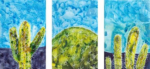 Cacti, 4 x 6 in. watercolor & gesso on paper. © 2019 Sheila Delgado.