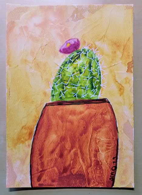 Desert Bloom 2. 4 x 6 in. watercolor & gesso on  paper. © 2019 Sheila Delgado.
